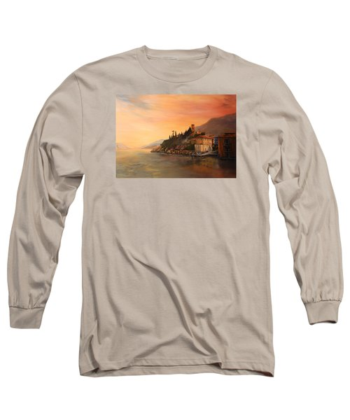 Long Sleeve T-Shirt featuring the painting Malcesine Lake Garda Italy by Jean Walker