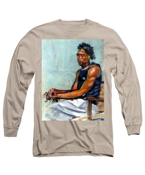 Male Figure Sitting Long Sleeve T-Shirt