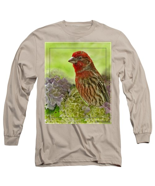 Long Sleeve T-Shirt featuring the photograph Male Finch In Hydrangesa by Debbie Portwood