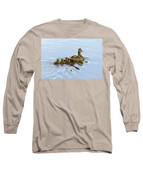 Mallard And Chicks  Long Sleeve T-Shirt by Chris Flees