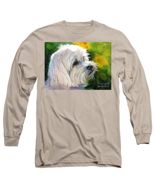 Long Sleeve T-Shirt featuring the painting Maltese by Bonnie Rinier