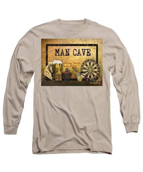Man Cave-bring Your Own Beer Long Sleeve T-Shirt by Jean Plout