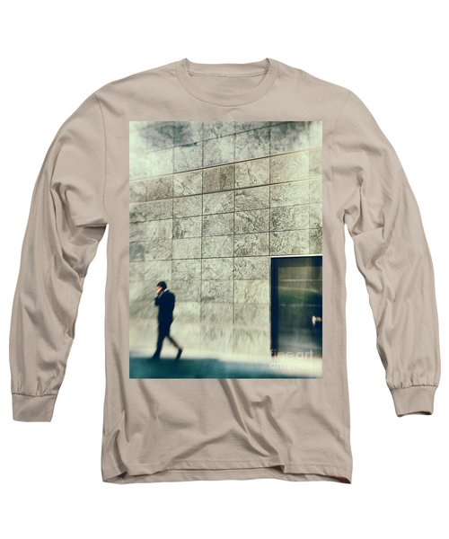Long Sleeve T-Shirt featuring the photograph Man With Cell Phone by Silvia Ganora