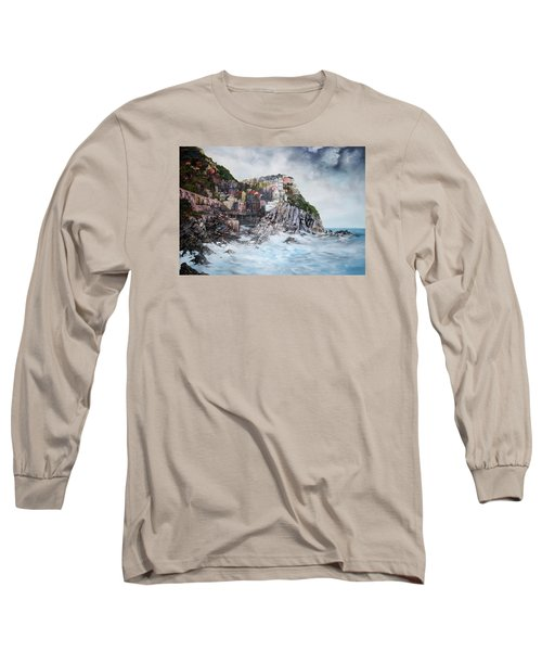 Long Sleeve T-Shirt featuring the painting Manarola Italy by Jean Walker