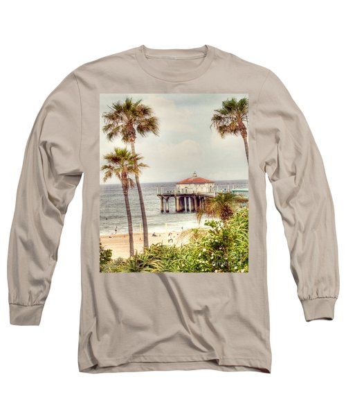 Manhattan Beach Pier Long Sleeve T-Shirt by Juli Scalzi