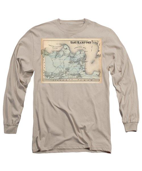 Map Of East Hampton 1873 Long Sleeve T-Shirt
