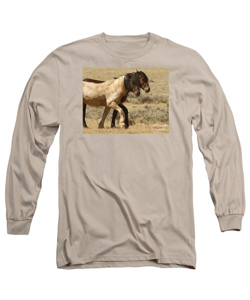 Mares In Step-signed-#9139 Long Sleeve T-Shirt by J L Woody Wooden