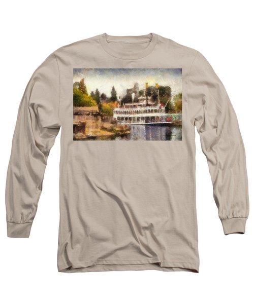 Mark Twain Riverboat Frontierland Disneyland Photo Art 02 Long Sleeve T-Shirt by Thomas Woolworth