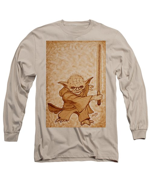 Long Sleeve T-Shirt featuring the painting Master Yoda Jedi Fight Beer Painting by Georgeta  Blanaru
