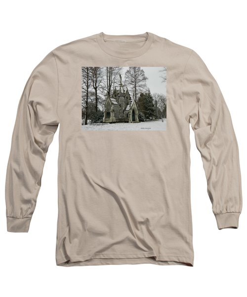 Long Sleeve T-Shirt featuring the photograph Mausoleum In Winter by Kathy Barney