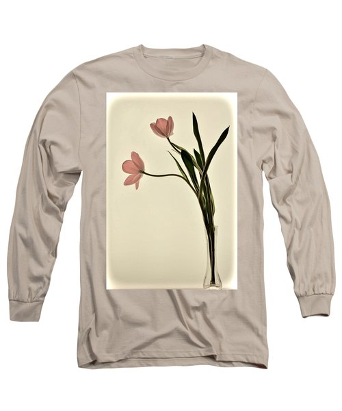 Mauve Tulips In Glass Vase Long Sleeve T-Shirt