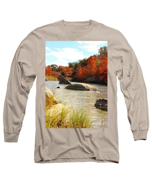 Fall Cypress At Bandera Falls On The Medina River Long Sleeve T-Shirt