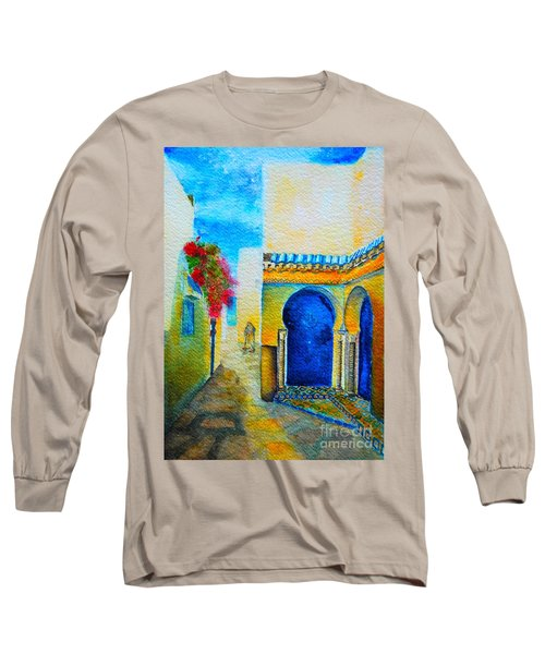 Long Sleeve T-Shirt featuring the painting Mediterranean Medina by Ana Maria Edulescu