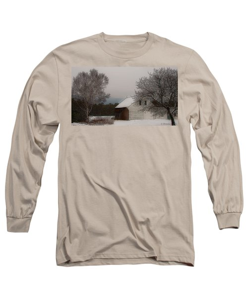 Long Sleeve T-Shirt featuring the photograph Melvin Village Barn by Brenda Jacobs