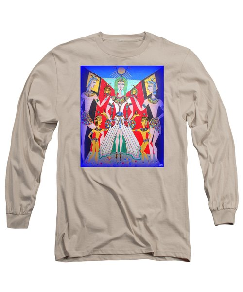 Long Sleeve T-Shirt featuring the painting Metamorphosis Of Melisa Into Nefertiti by Marie Schwarzer
