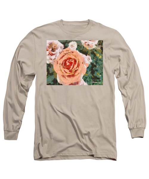 Long Sleeve T-Shirt featuring the painting Alameda Meyers House Garden Klimt Rose by Linda Weinstock