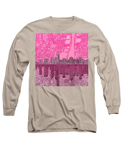 Miami Skyline Abstract 4 Long Sleeve T-Shirt by Bekim Art