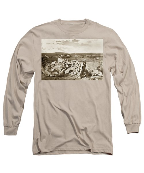 Michael Noon Sitting On A  Pile Of Whale Bones Monterey Wharf  Circa 1896 Long Sleeve T-Shirt