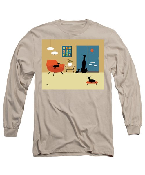 Mid Century Dogs And Cats Long Sleeve T-Shirt