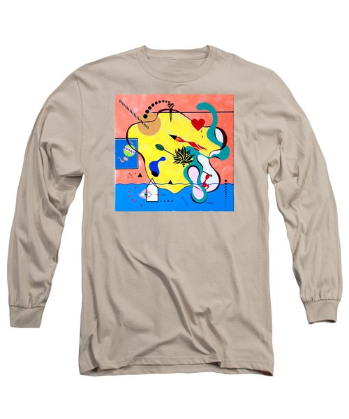 Long Sleeve T-Shirt featuring the painting Miro Miro On The Wall by Thomas Gronowski