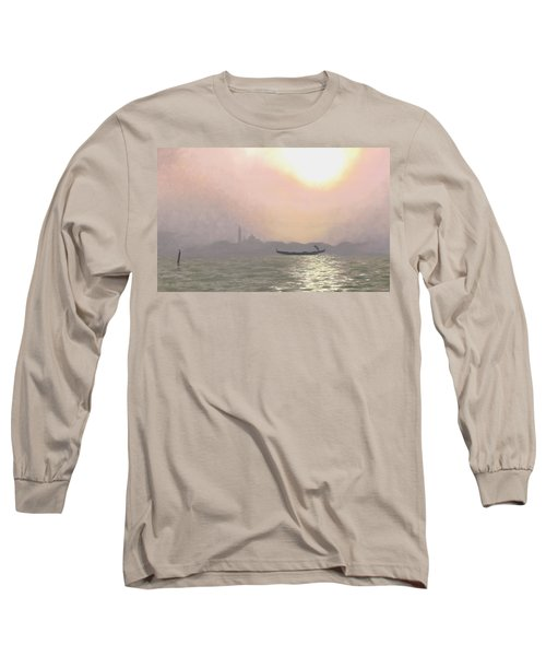 Long Sleeve T-Shirt featuring the painting Misty Lagoona 34 X 47 by Michael Swanson