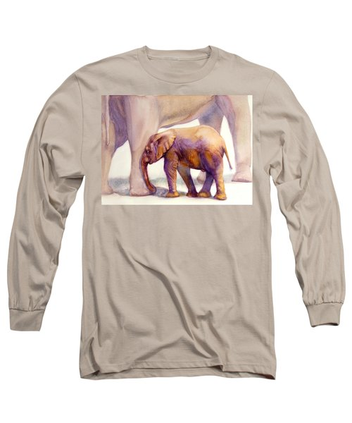 Long Sleeve T-Shirt featuring the painting Mom And Baby Boy Elephants by Bonnie Rinier
