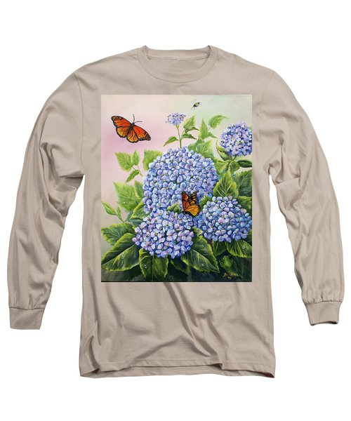 Monarchs And Hydrangeas Long Sleeve T-Shirt by Gail Butler