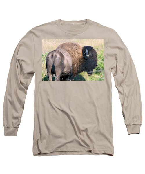 Long Sleeve T-Shirt featuring the photograph Montana Buffalo Bison Bull by Karon Melillo DeVega