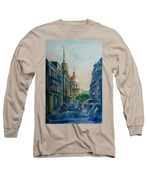 Montreal Skyline Long Sleeve T-Shirt by Debbie Lewis