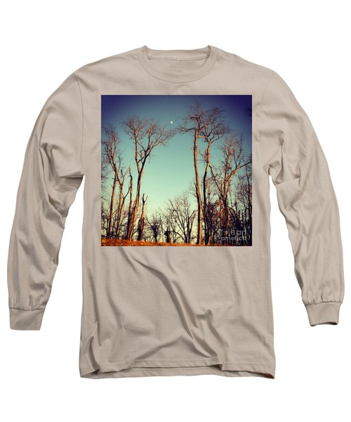 Moon Between The Trees Long Sleeve T-Shirt by Kerri Farley