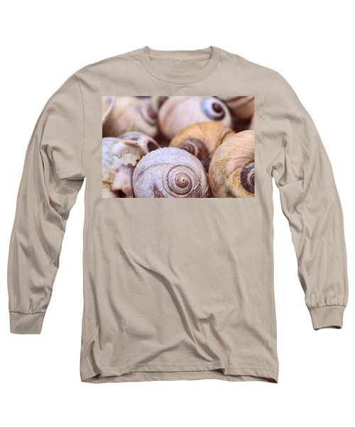 Long Sleeve T-Shirt featuring the photograph Moon Snail Shells by Peggy Collins