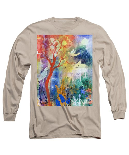 Long Sleeve T-Shirt featuring the painting Moonlight Serenade by Robin Maria Pedrero