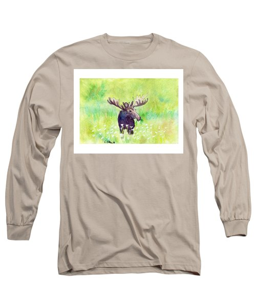 Moose In Flowers Long Sleeve T-Shirt by C Sitton