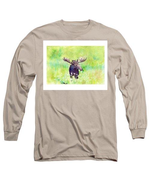 Moose In Flowers Long Sleeve T-Shirt