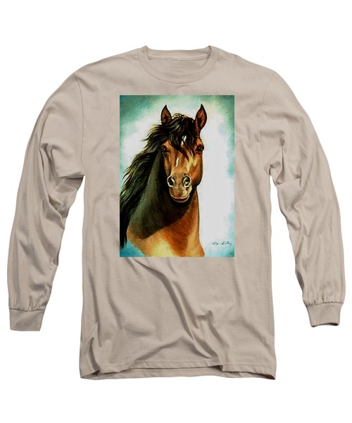 Long Sleeve T-Shirt featuring the painting Morgan Horse by Loxi Sibley
