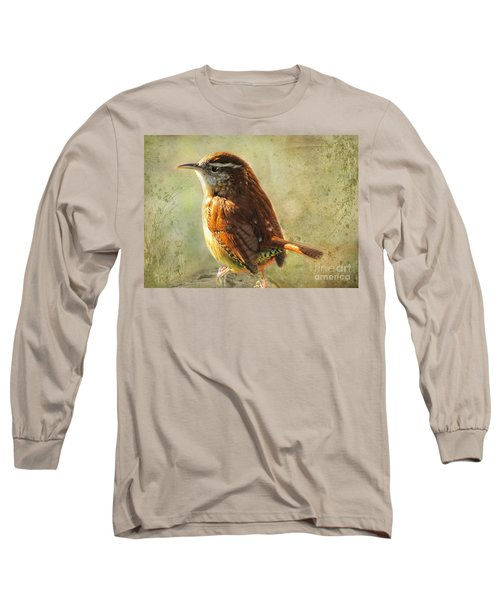 Morning Carolina Wren Long Sleeve T-Shirt by Debbie Portwood