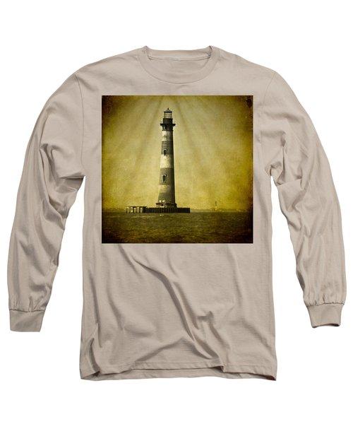 Morris Island Light Bw Vintage Long Sleeve T-Shirt