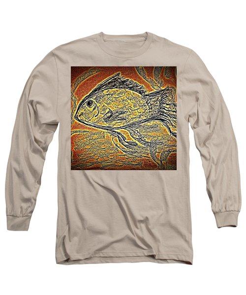 Mosaic Goldfish In Charcoal Long Sleeve T-Shirt
