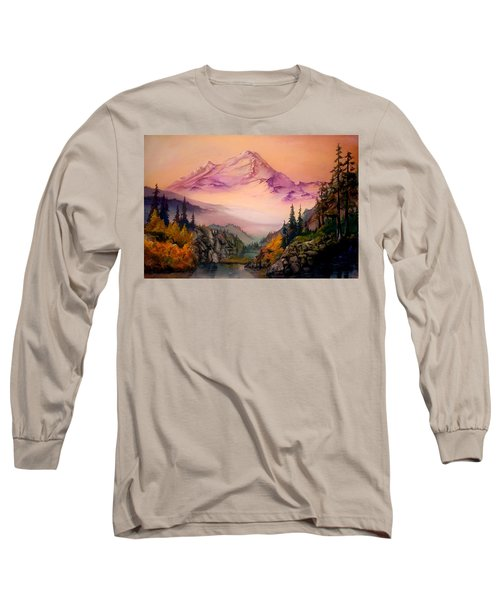 Long Sleeve T-Shirt featuring the painting Mount Baker Morning by Sherry Shipley