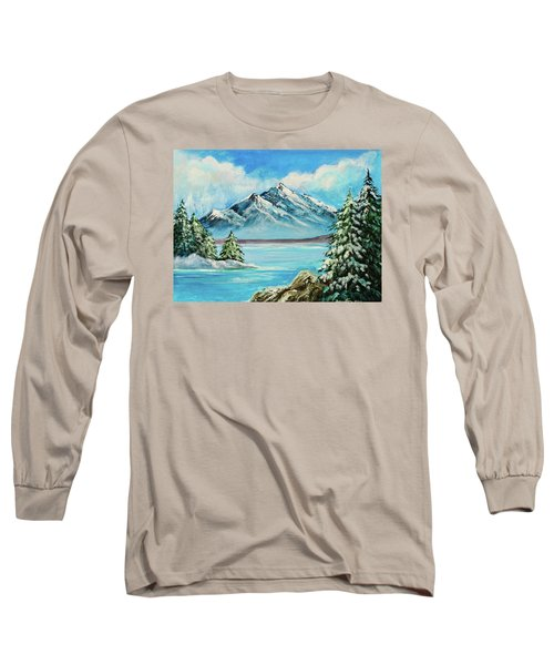 Long Sleeve T-Shirt featuring the painting Mountain Lake In Winter Original Painting Forsale by Bob and Nadine Johnston