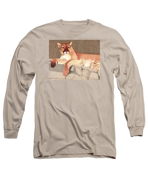 Mountain Lion Long Sleeve T-Shirt by Dan Miller