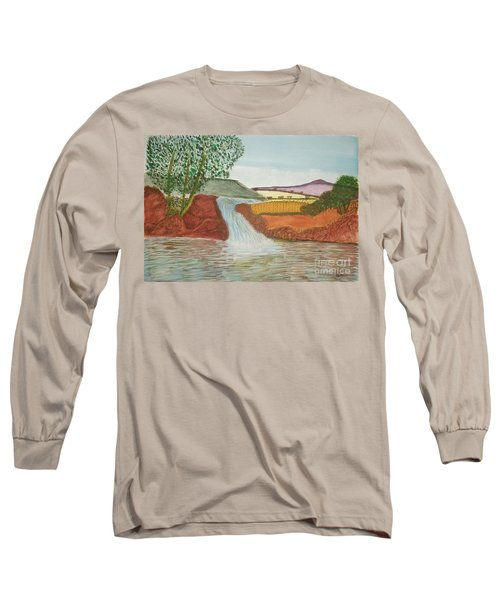 Long Sleeve T-Shirt featuring the painting Mountain Stream by Tracey Williams