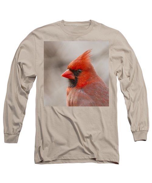 Mr Cardinal Portrait Long Sleeve T-Shirt by Mircea Costina Photography