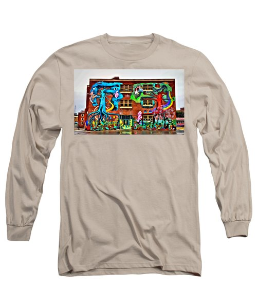 Mural On School Long Sleeve T-Shirt by Alice Gipson
