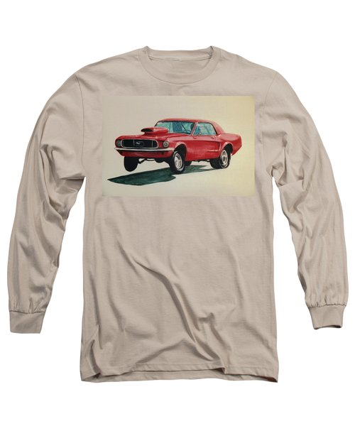 Long Sleeve T-Shirt featuring the painting Mustang Launch by Stacy C Bottoms