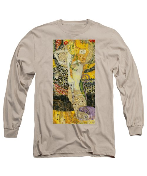 My Acrylic Painting As An Interpretation Of The Famous Artwork Of Gustav Klimt - Water Serpents I Long Sleeve T-Shirt by Elena Yakubovich