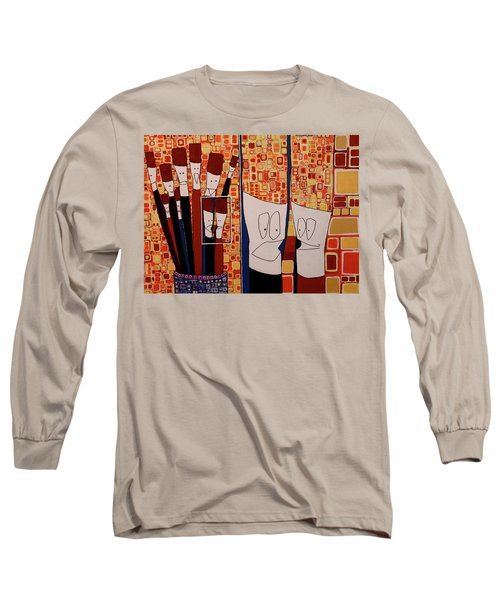 Long Sleeve T-Shirt featuring the painting My Brushes Are Talking About Me by Donna Howard