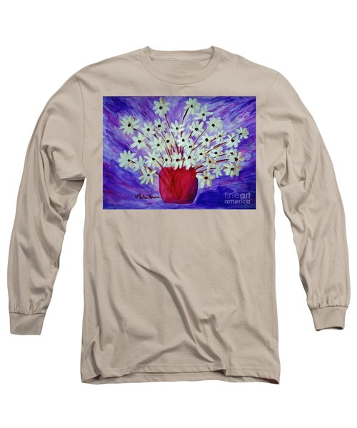 Long Sleeve T-Shirt featuring the painting My Daisies Blue Version by Ramona Matei