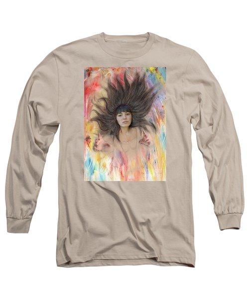 My Drawing Of A Beauty Coming Alive II Long Sleeve T-Shirt by Jim Fitzpatrick