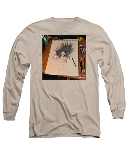 My Drawing Of A Beauty Coming Alive Long Sleeve T-Shirt by Jim Fitzpatrick